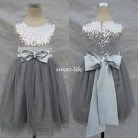 Wholesale Grey Bow Dress - 2018 A line short Bling Bling Flowers Girl Dresses Wedding Silver Grey Sequins Sash Bow Sleeveless Tulle Flower Formal Communion dresses