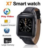 Wholesale android x7 - 2018 New Smart watch Video Bluetooth phone X7 Smartwatch dial Synchronous push Leather strap phonebook High speed CPU PK DZ09 A1 V8 QW09 X6