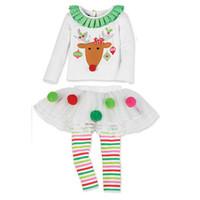 kids rainbow t shirts NZ - Kids Baby Girl Clothes Christmas Clothes Set Cute Elk Top T-shirt +Tutu Dress Long Rainbow Pants Outfits Set Clothes