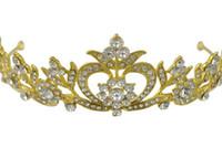 corona dorada de diamante al por mayor-Novias doradas, coronas, sombreros de diamantes, accesorios para bodas, peines, adornos nupciales.