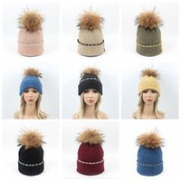 10b98afb044 Winter Beanie with Raccoon Fur Pom Pom 8 Colors Wool Knitted Hats Patchwork  Hemming Outdoor Warm Caps LJJO5696