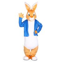 traje de coelho mascote adulto venda por atacado-Peter Rabbit Mascot Costumes Natal Unisex Mascote Terno Fancy Dress para adulto completo outwit Purim festa