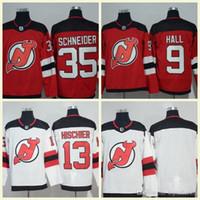 f4f688c8b Mens NHL 2017-18 Season New Jersey Devils 35 Schneider 13 Hischier 30  Brodeur 9 Hall Blank Red Home White Premier Hockey Jerseys