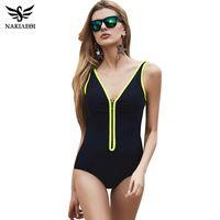 Wholesale Swim Zipper - One Piece Swimsuit 2018 New Plus Size Swimwear Women Vintage Bathing Suits Summer Beach Wear Zipper Padded Swimming 4XL