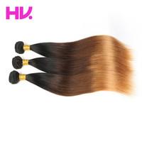 ingrosso colore remy dei capelli 1b-Ombre Colour capelli peruviani diritti tesse 1b / 4/30 estensioni dei capelli remy nessun spargimento nessun groviglio può essere tinto capelli vergini