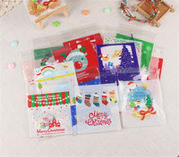Wholesale package cookies for gifts online - 100 set Cute Cartoon Gifts Bags Christmas Cookie Packaging Self adhesive Plastic Bags For Biscuits Birthday Candy Cake Package