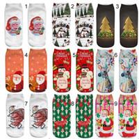 calcetines de venado al por mayor-32 estilos Caliente de alta calidad de navidad ciervos Santa Claus muñeco de nieve calcetines de diseño Calcetines de algodón Unisex Plantlife calcetines cortos