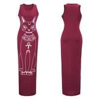 Wholesale cat print dress long sleeves resale online – Women Tank Maxi Sheath Dress Women Sleeveless Crew Neck Cotton Cat Printed Dress Cotton Casual Spring Summer Long Dress