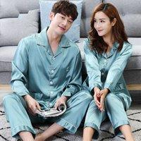 conjuntos de pijamas para parejas al por mayor-Conjunto de pijama de satén de seda maciza a juego con par de CherLemon Conjunto de pijama de otoño de manga completa para mujer
