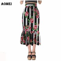 Wholesale elegant work wear - Womens Ruffles Pencil Skirt 2018 with Retro Printed Stripe Floral Tight Zipper Female Summer Elegant Jupe Midi Saias faldas Work Wear