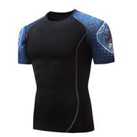 cool formalar toptan satış-Erkek Sıkıştırma Sıkı Gömlek Hızlı Kuru Koşu T gömlek Erkekler Serin O-Boyun erkek T Shirt Futbol Forması Rashgard