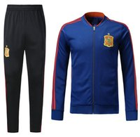 Wholesale New Train Sets - AAA 2017 2018 new Spain chandal Soccer jersey full zipper training suit 17 18 SERGIO RAMOS A.INIESTA soccer set tracksuit jacket