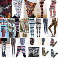 5e15145cf3c9fd Wholesale girls silk leggings for sale - 2XL Christmas Snowflakes Leggings  Reindeer Printed Silk Stretchy Legging