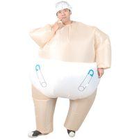 yetişkinler için bebek havaya uçurma toptan satış-Bebek Bebek Bezi Şişme Kostüm büyük bebek bebek cosplay suit yetişkin komik blow up tam vücut takım elbise kutlamak bebek doğum parti