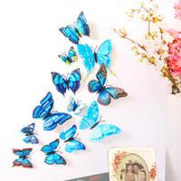 kelebek bant toptan satış-Buzdolabı sticker mavi kelebek 12 parça gökkuşağı 3D kelebek (mıknatıs + bant) duvar çıkartmaları ev dekorasyon duvar kağıdı oturma odası