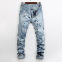fermeture à glissière achat en gros de-Mode Hommes Jeans Street Casual Hommes Zipper Fly Flocon De Neige Jeans Hot Nails Hommes Slim Pantalon Droit Lavages À L'eau Hommes Denim Pants