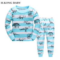 Wholesale Boys Pyjamas Cartoon - H.kong baby New Kids Pajamas Sets boys night suit Children dinosaur cartoon Sleepwear Pyjamas kids 100% Cotton nightwear