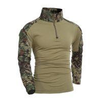 chemises de camouflage armée achat en gros de-Camouflage T-Shirt Militaire Armée Combat T-shirt Hommes Manches Longues US RU Soldats Tactique T-shirt Multicam Camo Tops