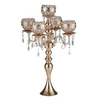Wholesale metal crystal candelabra resale online - 63 cm Tall arms Metal Gold Candelabras With Pendants Romantic Wedding Table Candle Holder Home Decoration