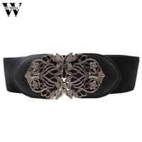 6149bf74b Incrível Nova Liga Flor Do Vintage Cinto Para As Mulheres Lady Wide Elastic  Belt Cintura para Acessórios de Moda Vestuário
