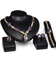 conjuntos de anéis roxos venda por atacado-Luxo jóias designer de jóias conjunto para jóias de casamento Do Punk roxo colar pulseiras brincos anéis para as mulheres moda quente