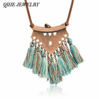 Wholesale Tassel Fringe Necklace - whole saleQIHE JEWELRY Tassel necklace Brown leather chain geo pendant multi fringe tassel charm long necklace Boho chic Bohemian jewelry