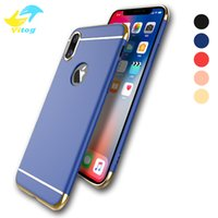 Wholesale protect mobile phone - Luxury 3 In 1 Electroplating Plastic Hard Back Case For Iphone6 7 8 Plus X samsung s7 s8 s8 plus All Around Protect Cover Mobile Phone Cases