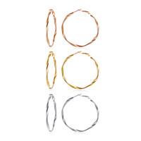 boucles d'oreilles cerceaux achat en gros de-Big Twist Wire Hoop Boucles d'oreilles en acier inoxydable cadeau pour elle