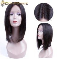 Wholesale hair straight girl resale online - Doheroine Straight Hair Black Short Bob Wigs Heat Resistant Fiber Middle Part Wig for Women Girls Costume Daily Wear