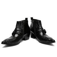 mens tobillo botas correas al por mayor-2018 nuevos hombres de cuero genuino botas de punta estrecha correas diseño tobillo botas para hombre de negocios de la boda formal de vestir zapatos masculinos