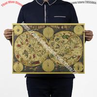 ingrosso carte da muro-Vintage 1680 Constellation Diagram Astrologia Tarocchi Retro Nostalgia Star Map Carta Kraft Poster Adesivo Immagine Wall Sticker