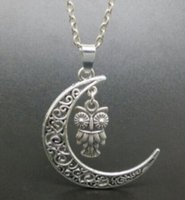 Wholesale Owl Moon Charm - Crescent Moon Fairy Sun Owl Angel Knot Necklace&Pendant Vintage Silvers Charms Choker Chain Necklaces Alloy Jewelry For Women Accessories