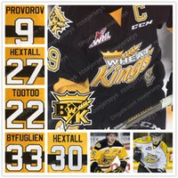 gelbe pullover großhandel-2019 Brandon Wheat Kings Eishockey Jersey # 9 Ivan Provorov 27 30 Ron Hextall 22 Jordin Tootoo genähtes Schwarz Gelb Weiß Pullover 4XL