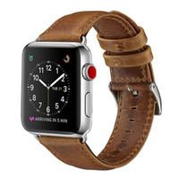 pulsera de cuero al por mayor-Nuevo negocio de lujo casual estilo Crazy Horse patrón correa de reloj de pulsera de correa de cuero genuino para 42 mm 38 mm reloj de Apple 3 2 1 Goophone