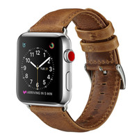 браслеты оптовых-Новый Роскошный Бизнес Повседневный Стиль Сумасшедшая Лошадь Pattern Натуральная Кожа Ремешок Ремешок Для Пояса Браслет для 42 мм 38 мм Apple Watch 3 2 1 Goophone