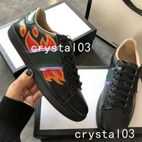 Wholesale Burgundy Lace Trim - Luxury Brand Ace Embellished Leather Sneakers Watersnake-trimmed Crystal-Embellished Stud Embellished Nylon Snake Trainers Shoes Hot 002