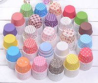 Wholesale Dot Liners - New Fashion Environment Colorful Stripe Dot Paper Cake Cups 50*39mm Baking Cup Liners Mould Cake Decoration Cupcake 100PCS Lot
