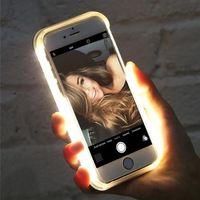 o iphone acende venda por atacado-Luxo luminosa phone case para iphone 6 6 s 7 8 plus x selfie perfeito light up brilhante case capa para iphone x xs xr max saco do telefone