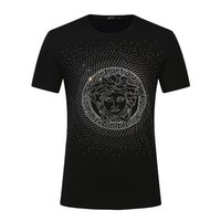 Wholesale hot t shirts for women - Hot drilling process for men and women Medusa T-shirts short sleeved pure cotton large yards loose half-sleeved street dress tops