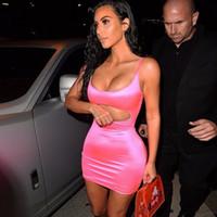 kim frauen s kleider großhandel-Tobinoone Kim Kardashian Sexy Bodycon Kleid Frauen Sexy Liebsten Ärmellos Aushöhlen Party Kleider Vestidos Sommerkleid