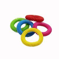 natürliches abwehrmittel für mücken großhandel-EVA Mückenschutz Telefon Ring Sommer natürliche Pflanzenöle Telefon Gurt elastische Anti-Mücken-Armband Spirale Hand Handgelenk B