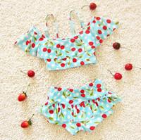 Wholesale cute blue girls bikinis - cute cherry girls swimming clothes girls swimwear 2pcs set bikini beach dress bathing suit toddlers girls swimsuits