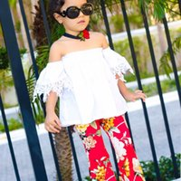 Wholesale top fashion outfits for kids - Kids Clothes For Girls Fashion Baby Girls Clothes White Lace Off Shoulder Tops Floral Printing Bell-bottoms Long Pants Outfits Children B11