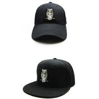 baykuş bayağı şapka toptan satış-LDSLYJR 2018 Baykuş hayvan nakış pamuk Beyzbol Şapkası hip-hop kap Çocuklar ve yetişkin boyutu için Ayarlanabilir Snapback Şapkalar 169