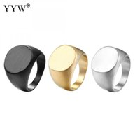 schwarze männer schmuck großhandel-Vintage Edelstahl Ring Mode Gold Silber schwarz Farbe Poliert Siegel Dichtung Biker Fingerring Für Frauen Männer Schmuck