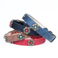 Wholesale dog collar diamante wholesale for sale - Dog Collars Diamante Rhinestone L XL Dog collors PU Leather Cat Chihuahua Yorkie pet accessories GL01