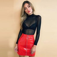 Wholesale Sexy Pu Clothing - Wholesale PU A Line Women Mini Skirts Empire Zipper Above Knee Women Clothes Office Lady Dress Fashion Sexy Spring Summer Free Shipping New