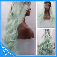Wholesale kanekalon cosplay wig - Black Ombre Mint Green Hand Tied Synthetic Lace Front Wigs Glueless kanekalon Heat Resistant Loose Body Wave Lace Front Cosplay Party Wigs