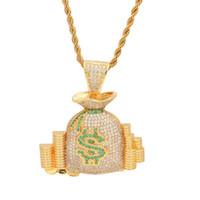 18k gold geldbörse großhandel-Männer Mode Hip Hop Halskette Gelb Weißes Gold Überzogen Iced heraus Blingbling CZ Geldbörse Anhänger Halskette für Männer Frauen