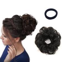 chignons toptan satış-Kadınlar için saç Çörekler Gerçek İnsan Saç uzantıları Dalgalı Kıvırcık Donut Saç Chignons Toka Scrunchie Updo Postiş mükemmel dağınık topuz